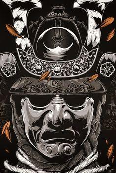 -The Bushido Samurai- Ronin Samurai, Samurai Helmet, Samurai Warrior, Japanese Mask, Japanese Warrior, Japanese Tattoo Art, Samurai Maske Tattoo, Samourai Tattoo, Samurai Artwork