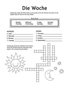 Die Woche German Days of the Week crossword puzzle worksheet is designed for children in Grade 2, Grade 3, and Grade 4. It focuses on the German names for the days of the week only, making this worksheet very managable when introducing this new vocabulary to beginning German students.