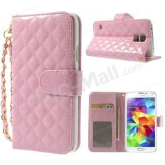 Pink Rhombus Pattern Glossy Leather Stand Case w/ Card Slots for Samsung Galaxy S5 G900