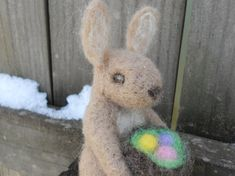 READY TO SHIP Needle Felt Easter Bunny / Waldorf by FoxWoolDesigns, $24.00