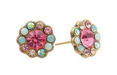 Michal Negrin Stylish Stud Flower Earrings Set with Blue, Pink and Beige Swarovski Crystals; Victorian Elegance