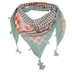 This is a great scarf to see you through every season! It's colourful and beautiful and covered in various patterns finished with tassels around the edges.  A great casual scarf for all ages making it a great gift for a friend...or yourself!  It's super soft and a generous square shape, very comfortable and easy to wear.  All scarves come wrapped in pretty pink tissue finished with an Annie's Closet label.