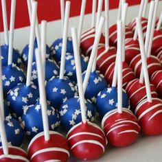 American Flag Cake Pops #FourthOfJuly