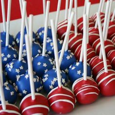 American Flag Cake Pops...if I'm feeling ambitious this year!
