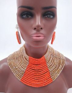fashion orange coral color and gold ab crystal beaded nigerian wedding costume african beads jewelry set LSN017