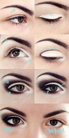 Ladies, do you know which eye makeup is the most popular one? Smokey eyes, of course! Scroll down to find 15 Fabulous Smokey Eyes Tutorials For Your Next Party. Smokey Eyes Tutorial, Eye Tutorial, Eyeliner Tutorial, Goth Makeup, Skin Makeup, Makeup Brushes, Makeup Remover, Makeup For Small Eyes, Beauty Make-up