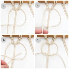 DIY Mini Macrame Wall Hanging: creating the bottom half of the square knot.