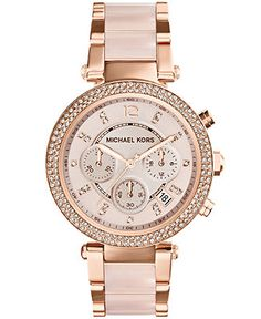 Michael Kors Women's Chronograph Parker Blush and Rose Gold-Tone Stainless Steel Bracelet Watch 33mm MK5896 - Watches - Jewelry & Watches - ...
