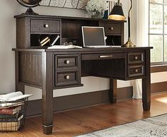 Townser Home Office Desk and Hutch, & Home Office Chair by Signature Design by Ashley. Get your Townser Home Office Desk and Hutch, & Home Office Chair at JB's Furniture, Milwaukee WI furniture store. Office Desk With Hutch, Home Office Furniture Desk, Home Office Computer Desk, Mission Furniture, Desk Hutch, Home Office Chairs, Desk With Drawers, Bedroom Furniture, Bedroom Decor