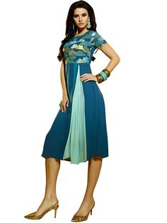 Charming Blue Coloured Embroidered Kurti - Designer Kurtis - Kurtis