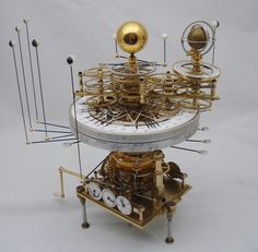 "The completed tellurian, orrery and subsidiary dial banks. This is the ""crown""… Solar System Model, Mechanical Art, Cabinet Of Curiosities, Space And Astronomy, Antique Clocks, Science, Cool Stuff, Antiques, Crown"