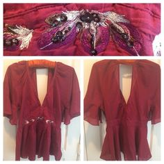 Make OfferMaroon Colored Sz 10 Beaded Blouse Cute beaded top with v-neckline in front and back. Has hook & eye closures in front to adjust neckline. Hidden zipper on side. One seam stitching undone from trying it on. Size 10 Tops Blouses