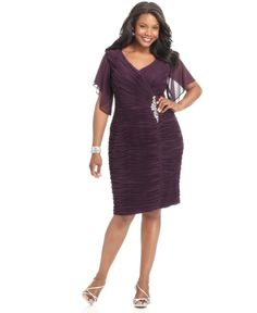 Xscape Plus Size Dress Flutter Sleeve Ruched Cocktail Attire Garb Apparel Wearing Clothes Purple Polyester