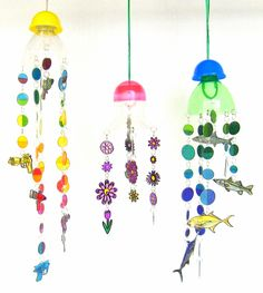 Mobile Suncatchers - upcycled from plastic take-out containers, soda botttles, & gumball machine toy containers.