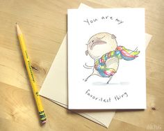 Pug I Love You Card  You Are My Favoritest Thing  Cute by InkPug, $3.95
