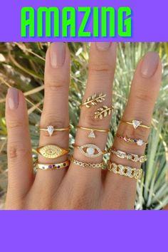 Ring Ring, Ring Set, Pave Ring, Fashion Rings, Fashion Jewelry, Fashion Fashion, Vintage Rings, Bohemian Jewelry, Wristlets