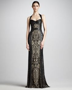Sequin-Lace Halter Gown by Monique Lhuillier at Neiman Marcus. This exquisite, art-deco-inspired Monique Lhuillier gown is saturated in sequins and boasts nude front and back panels that illustrate your hourglass figure. For your next formal affair, sweep your hair back to let the dress—and you—take center stage.