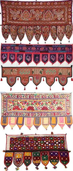 A toran is a decorative door hanging in Hinduism. The word toran (or torana) originally referred to sacred gateways in Indian architecture. Both the sandstone gateways and these fabric ones serve a si