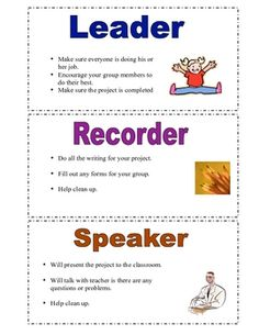 Cooperative Learning Job Cards- group work