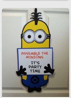 Minion Birthday Party - Welcome Sign Minions Birthday Theme, Minion Party Theme, Despicable Me Party, Boy First Birthday, 4th Birthday Parties, Birthday Party Decorations, Birthday Ideas, Themed Parties, Minion Halloween