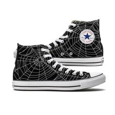 Spider Web Converse Black High Top chucks are here and made to order especially for you. These Chucks feature a Spider Web pattern over both panels of the shoe. You can choose from either a White or G