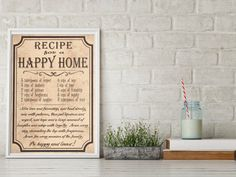 Quote Kitchen Poster Happy Home Recipe by BlueberryDreamDesign