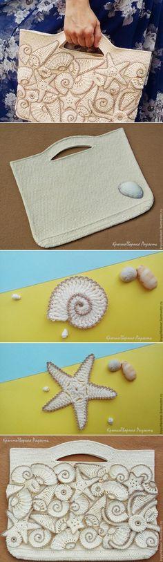 Декорируем пляжную сумку вязаными ракушками и морскими звездами - Ярмарка Мастеров - ручная работа, handmade   Сумки   Постила