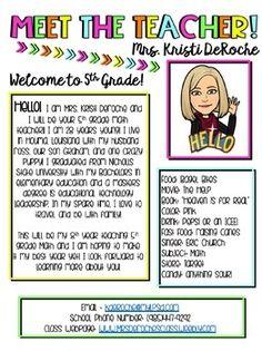 meet the teacher ideas Meet The Teacher Newsletter Bitmoji Theme Teacher Forms, Letter To Teacher, Teacher Signs, Teacher Memes, Teacher Introduction Letter, Teacher Binder, Teacher Stuff, Class Newsletter, Classroom Newsletter