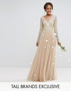 Maya Tall | Maya Tall Long Sleeve V Neck Tulle Maxi Dress With Multi Color Sequin