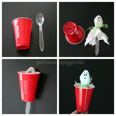 How to make simple tissue ghosts as a Halloween craft for kids. A Peek-a-boo tissue ghost is fun! You can use lollipops or plastics spoons…