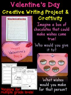 Valentine's Day creative writing unit. It begins with a script you read to your students. Includes brainstorming pages, planning pages, and more. Two versions to allow for differentiation! Best of all, it includes a fun Valentine's Day craftivity!