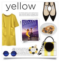 """We wear yellow dresses in La La Land"" by emilija-lili-babunski ❤ liked on Polyvore featuring WithChic, Jimmy Choo, Les Petits Joueurs, GALA, 1st & Gorgeous by Carolee and yellowdress"