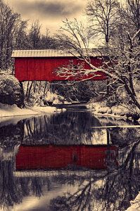 Photograph - Red Covered Bridge In Winter by Jeff Folger