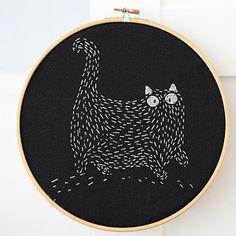 Monochrome Cat At Night Cross Stitch Pattern, Cat Embroidery White on Black Fat Cat Cross Stitch, Modern Cross Stitch Minimalist One Color
