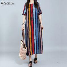 ZANZEA Women Dress 2017 Summer Long Maxi Party Dresses Casual Loose Short Sleeve Casual Loose Striped Vestidos Plus Size