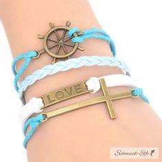 Armband Love Kreuz blau  weiß    im Organza Beutel