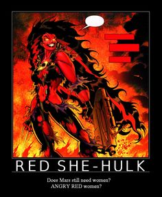"""On the way to Rocky Horror the other night, one of my friend's was playing """"Mars Needs Women"""" by Rob Zombie. I've since become infatuated with the song,. Red She-Hulk, Mars Needs Women Hulk Marvel, Ms Marvel, Marvel Heroes, Comic Book Characters, Comic Character, Comic Books Art, Comic Art, Red She Hulk, Red Hulk"""