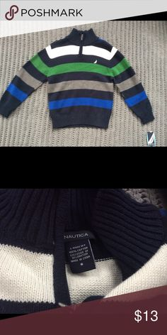 🎉NWT🎉 Handsome Boys Sweater NWT boys sweater with green, navy, gray, and white stripes. Nautica Shirts & Tops Sweaters