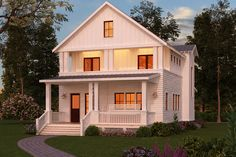 Bungalow house plan. I love the purposeful design and use of space. The perfectly sized 3 bedroom house plan with outdoor spaces, office, eat-in kitchen, banquet-style dining room, and spacious master suite. House Plan 888-10 via Houseplans.com