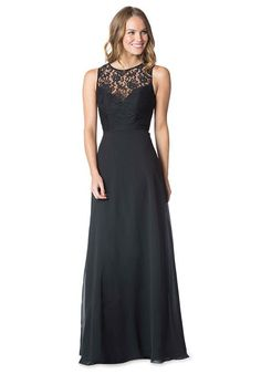 Black High Neck Sheer Lace Front Bodice over Chiffon with a Flared Skirt | Bari Jay Bridesmaids Style 1612 | http://knot.ly/6494BtLiG