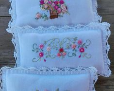 3 Spa Lavender spa pads wrist pads SPA bond pads mini decor hand embroidery decor home decor room decor unique gift Hand Embroidery Designs, Ribbon Embroidery, Embroidery Stitches, Embroidery Patterns, Creative Embroidery, Decor Pad, Decor Room, Decoration Photo, Embroidered Quilts