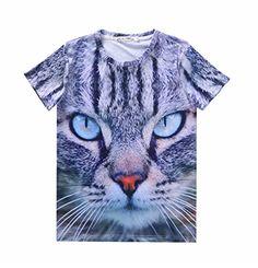 Pretty321 Men Women 3D Blue Eyes Cat Hip Hop Graffiti Unisex Fashion AD T-Shirts: Attention: PLS Confirm It is Sold by Pretty321 before…