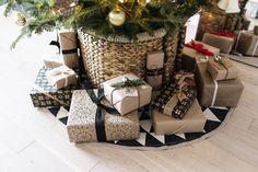 Scandinavian Christmas postal paper gift wrap + tree in a basket + Ferm Living tree blanket Christmas Holidays, Christmas Decorations, Scandinavian Christmas, Paper Gifts, Wraps, Basket, Gift Wrapping, Homemade, Grey