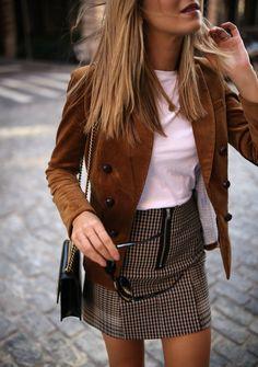 Corduroy // Corduroy jacket, white short sleeve t-shirt, checked mini skirt