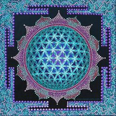 3D Flower of Life Dot Painting Mandala Sacred Geometry Art