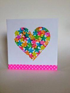DIY - Carte tamponnée en forme de coeur à faire avec les enfants (Stamped card)