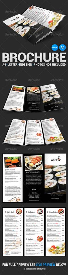 Sushi Menu TriFold Brochure — InDesign INDD #trifold #brochure • Available here → https://graphicriver.net/item/sushi-menu-trifold-brochure/4549114?ref=pxcr
