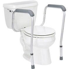 Handicap Toilet Rails #DisabledBathroomSafety >> See more accessible living tips at http://www.disabledbathrooms.org/handicapped-bathroom.html