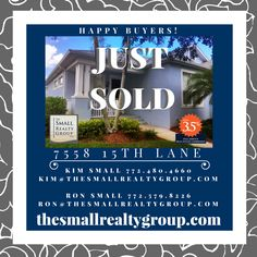 JUST SOLD!  It is moving day for The Small Realty Group LLC's  Buyers!  Are you ready to find your new home?  Thinking about selling?  Call Kim & Ron Small 772.480.4660 today!  thesmallrealtygroup.com  #VeroBeach #justsold #thesmallrealtygroup #Florida #PointeWest #movingday #tsrg #VeroBeachrealestate #lovevero #newhome #happybuyers #closingday Kim And Ron, Indian River County, Vero Beach Fl, Treasure Coast, Moving Day, Coastal Living, Small Groups, New Homes, Florida