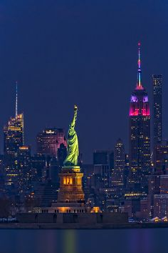 Empire State And Statue Of Liberty -